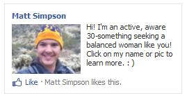Facebook interest-based PPC advertising campaign for a bachelor on a hike.