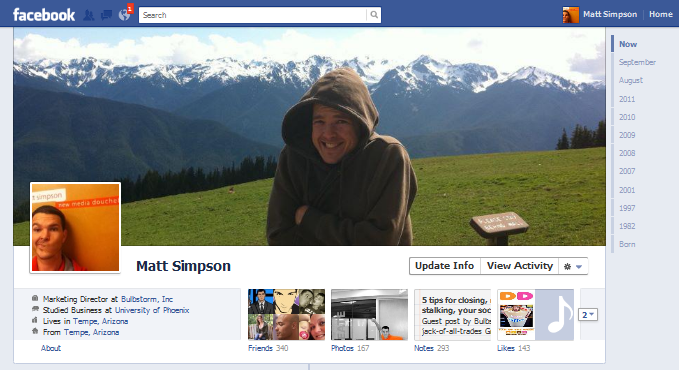 Timeline: The new Facebook Profile