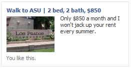 Facebook ad with rental condo image