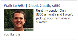 Facebook ad with smiling face image